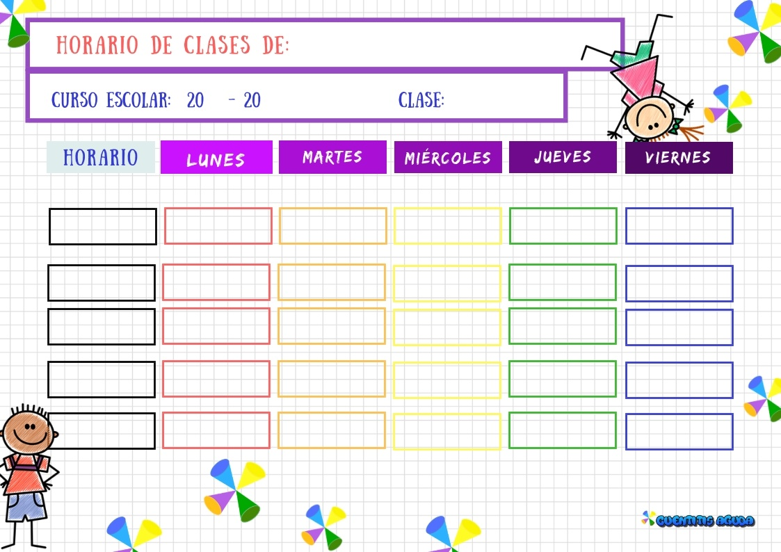 Imagenes Escolares Para Imprimir: Horario De Clases Para Imprimir Imprimir Horarios Para