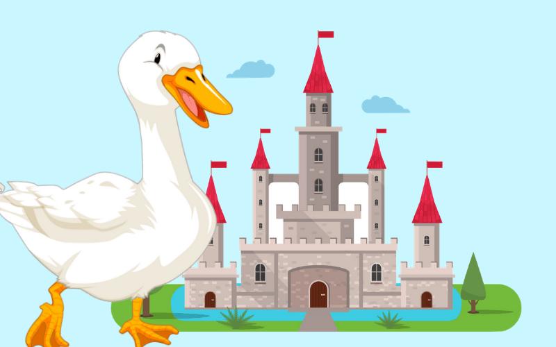 dibujo pato y castillo