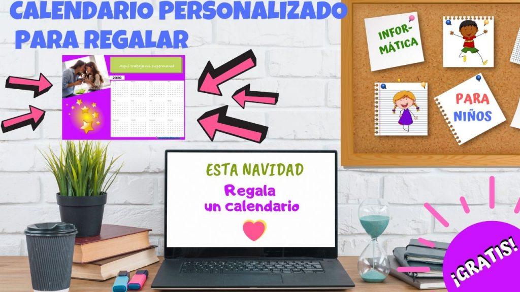 mesa de escritorio con ordenador y calendario personalizado en la pared