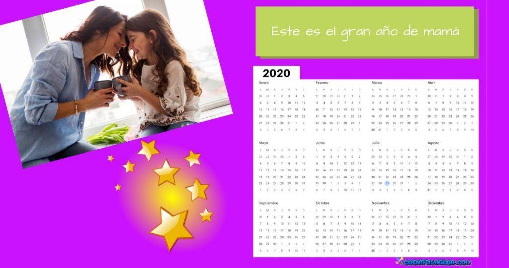 calendario 2020 con foto de madre e hija