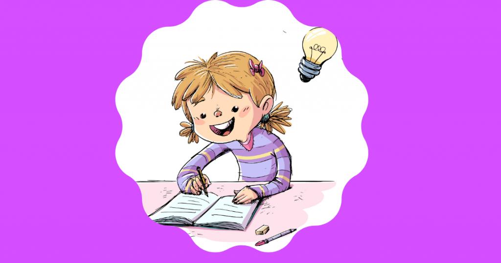dibujo de niña escribiendo una idea