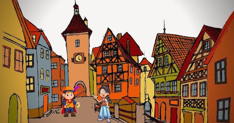 dibujo de ciudad medieval con dama y caballero