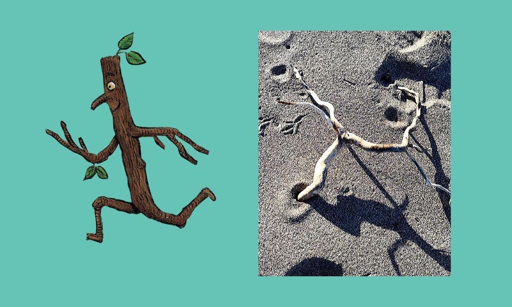 dibujo de hombre palo y foto de palo con forma de hombre