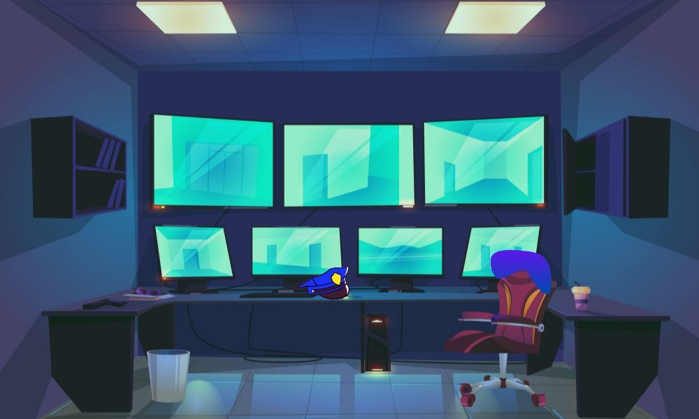 dibujo sala control vigilancia