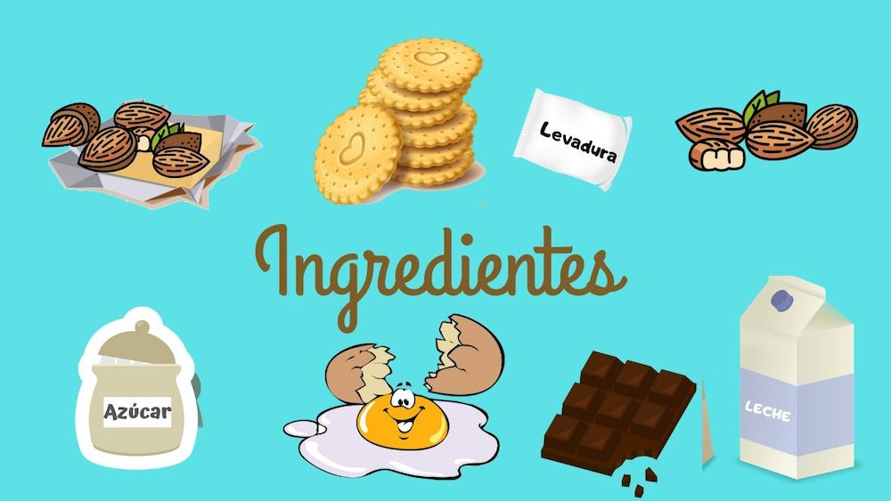 dibujo ingredientes tarta chocolate
