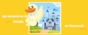dibujo animado de pato y castillo