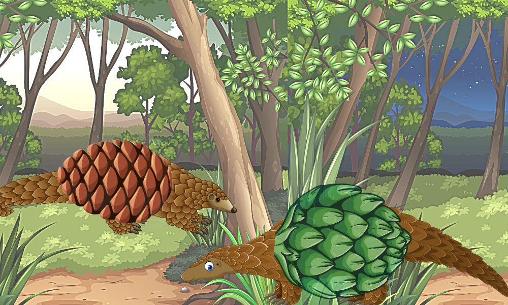 dibujo de dos pangolines en la selva, uno disfrazado de piña y otro de alcachofa