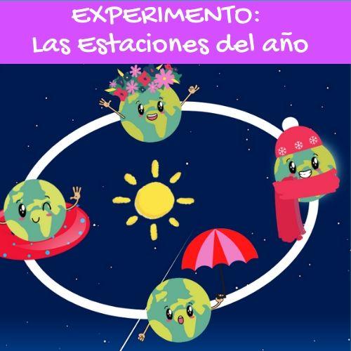 dibujo infantil de la Tierra en la órbita en las cuatro estaciones