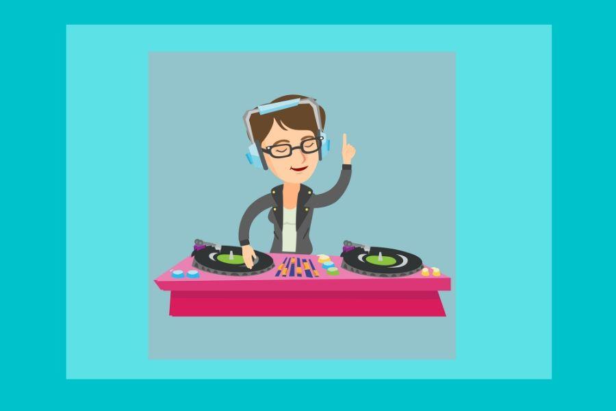 dibujo chica pinchando discos en mesa de mezclas
