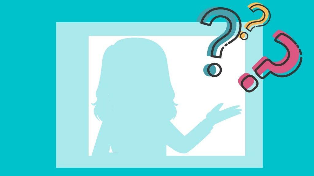 dibujo de silueta femenina y tres signos de interrogación