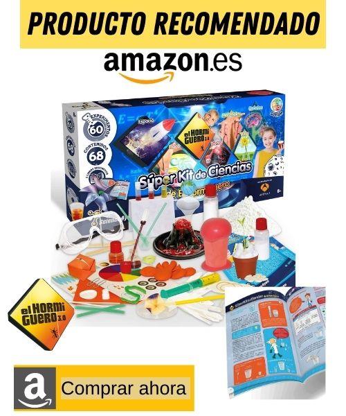 caja y componentes juego de experimentos para niños