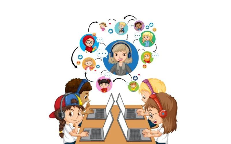 dibujo de niños en clase virtual