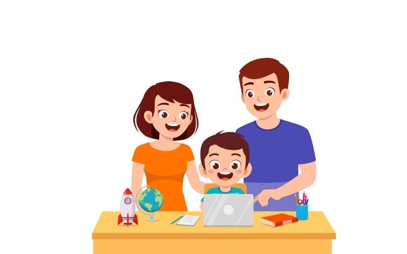 dibujo de niño con ordenador acompañado de su familia