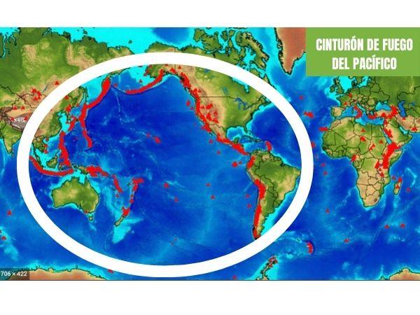 mapa cinturón de fuego del Pacífico